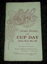 Vintage 1937 Australian Jockey Club AJC Sydney Cup Horse Race Programme