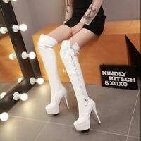 aeaa4cc5433 New Womens Platform Strappy Over Knee Thigh Boots Stilettos High Heels  Shoes Hot