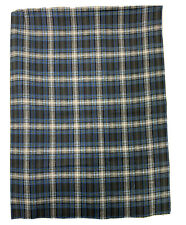 "100% Cotton Plaid Flannel Fabric Remnant Blue Gray Approximately 36"" Wide X 47"""