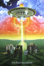 FANTASY ALIENS POSTER STONEHENGE THE FIRST ENCOUNTER