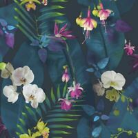 TROPICS PINDORAMA FLORAL WALLPAPER NAVY BLUE - ARTHOUSE 690101  FEATURE WALL NEW