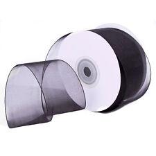 "2-3/4"" Plain Sheer Organza Nylon Wired edge Ribbon 25 Yards - Black"