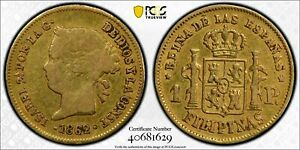 1862 Spanish Philippines Isabel II One Peso Gold Coin PCGS VF-25