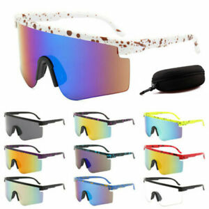 Mens Women Sunglasses Mirror Shade Glasses Outdoor Riding Cycling Goggle & Box