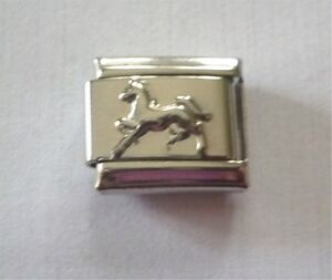 9mm  Italian Charm  E116  Silver Running Horse Fits Classic Size Bracelet