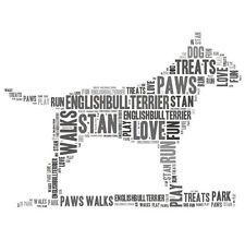 Personalised English Bull Terrier Dog Word Art Print Great Gift Mum Dad Grandad