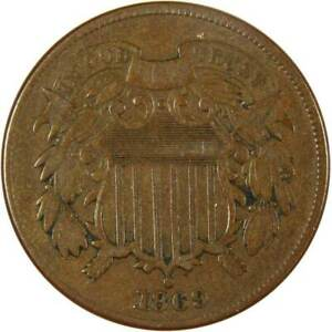 1869 Two Cent Piece F Fine Bronze 2c US Type Coin Collectible