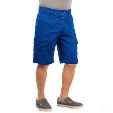Mens Twill Cargo Shorts with Belt Short Pants Summer Multi Pocket Sky Blue 36