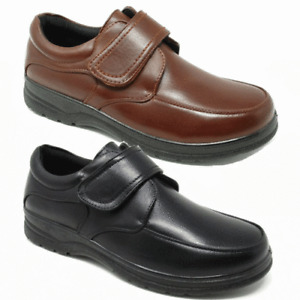 MENS LIGHTFOOT MEMORY FOAM WIDE ORTHOPAEDIC TOUCH FASTENING SHOES TAN BLACK 6-11