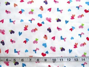 """1 1/3 yd x 60"""" Knit Fabric White with Hearts in Lime/Blue/Orange/Pink/Red/Purple"""