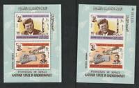 Aden - South Arabia - Kathiri 1967 KENNEDY (JFK) 2 Souvenir Sheets Perf. Imperf.