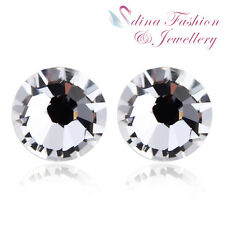 18K White Gold Plated Made With Swarovski Element Sparkling Round Stud Earrings