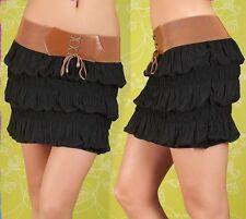 SeXy Miss Damen Mini Rock Stufen gesmockt Corsagen Gürtel XS-S Freesize schwarz