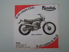 advertising Pubblicità 1974 MOTO MONDIAL 125 RADIAL