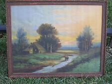 Vintage / Antique Original Chromolithograph Sunset Landscape in Original Frame