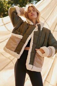 Free People Ella Oversize Puffer Coat Uk 8 10 12 14 *Sample* Olive Green