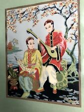 EUC Calpini Silk Screen Cherry Blossoms 11x14 1930's 40's China Japan Serigraph