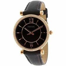Fossil Women's Carlie ES4507 Rose-Gold Leather Japanese Quartz Fashion Watch