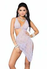 Floral Lace Asymmetrical Gown with G-String Dress Lingerie Set 88037