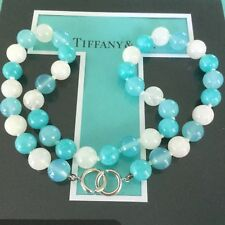 Rare Tiffany & Co. Gemstone Amazonite Moonstone Blue Agate Bead Necklace Silver