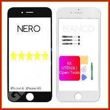 Vetro FRONTALE Ricambio BIANCO e NERO iPhone 6 6S+Ad. 3M+KIT UTENSILI Smontaggio