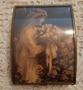 Via Vermont Blue Glass Brass Hinged Trinket Jewelry Box Bride Wedding 5x4x2