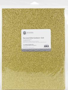 """ETC Papers Non-Shed Glitter Cardstock 8.5""""X11"""" 10/Pkg-Gold"""