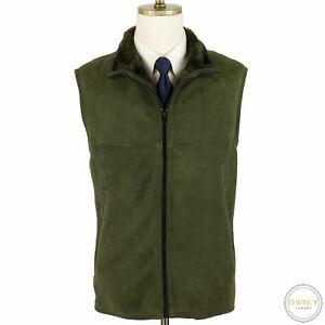 Paul Stuart Green Sheepskin Suede Leather Shearling Fur Lined France Vest L