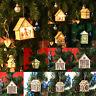 LED Light Wood House Cute Christmas Tree Hanging Pendant Ornaments Holiday Decor