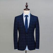 Men's Dark Blue With Strip Suit Blazer Groom Tuxedos Formal Wedding Suit Custom