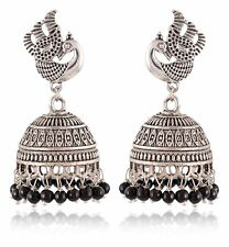 Oxidized Silver Indian Fashion Jewelry Jhumkas Earrings Set For Women Stylish