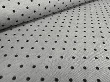 Stoff Jersey 0,4 cm Pünktchen Punkte Kleiderstoff beflockt grau melange schwarz