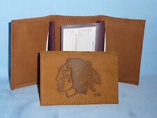 CHICAGO BLACKHAWKS  Leather TriFold Wallet   NEW!   txt