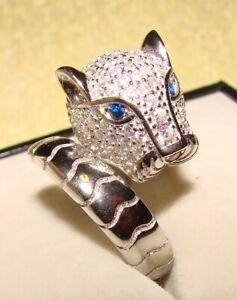 TRAUM! Massiver Pantherring Ring 925 Silber, Saphir, rhodiniert, RG 18,8 mm, NEU