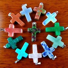 12Pcs Charming Mixed Gemstone Cross Pendant Bead BWSZJ1