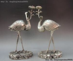 Chinese Folk White Bronze Silver Red-crowned Crane  Candlestick Candle Holder