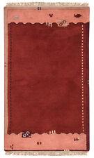 Nepal Tapis Tapis en laine 142 x 76 cm rouge orange NOUÉ À LA MAIN LAINE 54