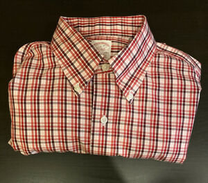 Mens Large Brooks Brothers Dress Shirt Button Up Red Plaid