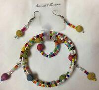 Jewelry Set Multi Color Seed & Rose Beads Ring Fish Hook Earrings Bracelet