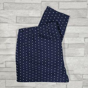 BONBPRIX Leggings Size L Navy Blue White Polka Dots Stretch Cotton 29L