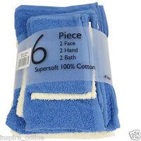 NEW 6 PIECE SUPREME 100 % PURE COTTON FACE HAND BATH TOWEL BALE SET GYM  SPORTS