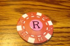 """ R "" Monogram Dice design Poker Chip,Golf Ball Marker,Card Guard Red/White"