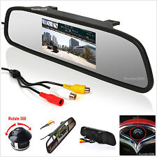 "360° Front/Sides/Rear Reverse Parking Camera + 4.3"" Color Mirror Display Monitor"
