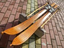 ANTIQUE VINTAGE OLD WOODEN SKIS 195 cm + bamboo sticks included