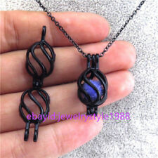 """H133 Black Alloy Bead Cage 24mm Screw Oval Locket Stainless Perfume Necklace 18"""""""