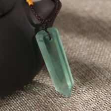 Natural Fluorite Quartz Crystal Wand Pendant Necklace Point Healing Green Gems