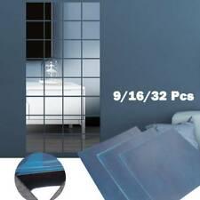 Mirror Wall Stickers 9/16/32Pcs Mirror Tile Square Self Adhesive DIY Home Decor