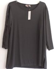 NWT EASYWEAR BY CHICO'S 3/4 SLEEVE TUNIC/TOP-3(L/XL)-DK GRAY-LADDER SLEEVE-NICE!