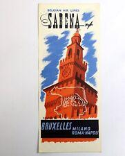 SABENA Air Route BRUXELLES-ROMA-NAPOLI Ancien document Belgian World Airlines