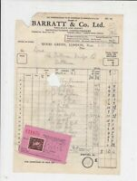 Barratt & Co. Ltd 1954 Confectioners Itemised Sweets Stamp Receipt Ref 35705